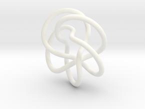Tubular Torus Knot Pendant in White Processed Versatile Plastic