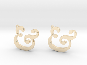 Ampersand Earrings (Caslon Pro Italic) in 14k Gold Plated Brass