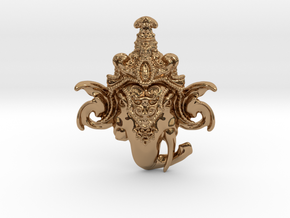 Extremely Detailed Decorative Lord Ganesha Head Pe in Polished Brass