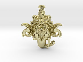 Extremely Detailed Decorative Lord Ganesha Head Pe in 18k Gold