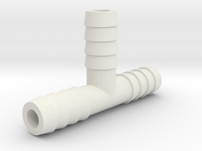 3/8 Inch Tee Hose Barb in White Natural Versatile Plastic