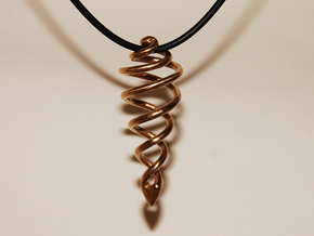 Spiral Drop Pendant in Natural Brass