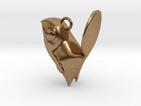 New Zealand Fantail charm in Natural Brass