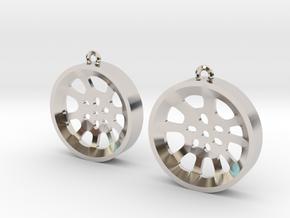 "Double Seconds ""void"" steelpan earrings, M in Rhodium Plated Brass"