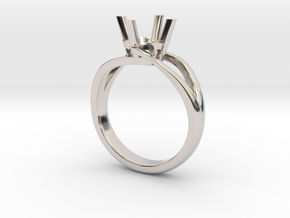 Solitaire Engagement Ring w/Split Band in Rhodium Plated Brass