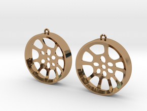 "Double Seconds ""void"" steelpan earrings, L in Polished Brass"