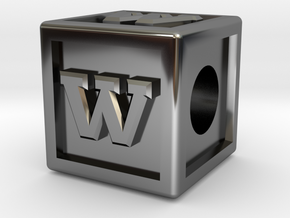 "Name Pieces; Letter ""W"" in Fine Detail Polished Silver"