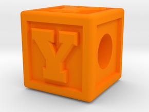 "Name Pieces; Letter ""Y"" in Orange Processed Versatile Plastic"