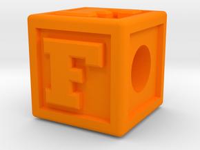 """Name Pieces; Letter """"F"""" in Orange Processed Versatile Plastic"""