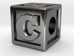 "Name Pieces; Letter ""C"" in Fine Detail Polished Silver"