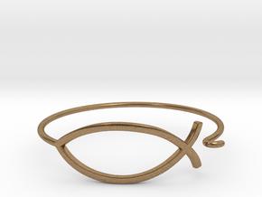 Wire Jesus Fish Bracelet in Natural Brass