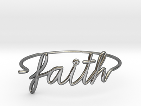 Faith Wire Bracelet in Polished Silver