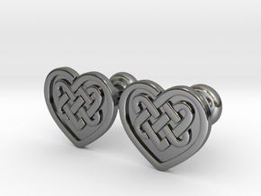 Heart Cufflinks in Fine Detail Polished Silver