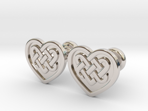 Heart Cufflinks in Rhodium Plated Brass