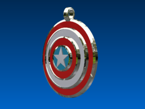 Captain America Shield (Pendant/Keychain) in Fine Detail Polished Silver