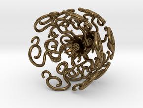 Flower Vine Jhumka - Indian Bell Earrings in Polished Bronze