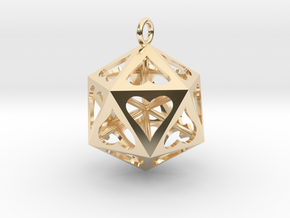 Icosahedron Love pendant in 14k Gold Plated Brass