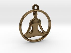 Meditation Charm in Polished Bronze