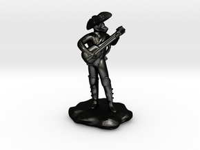 Dragonborn Pirate Bard with Lute and Crossbow in Matte Black Steel