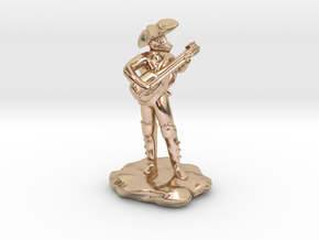 Dragonborn Pirate Bard with Lute and Crossbow in 14k Rose Gold Plated Brass