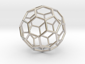 0024 Fullerene c60-ih Bonds/Truncated icosahedron in Rhodium Plated Brass