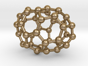 0108 Fullerene C40-2 c2 in Polished Gold Steel