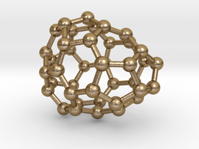 0110 Fullerene C40-4 c1 in Polished Gold Steel