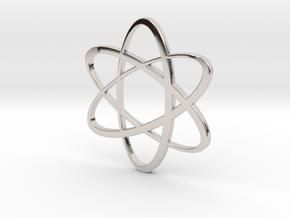 Atom Pendant in Rhodium Plated Brass