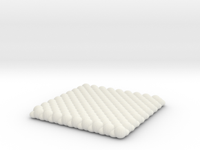 Pebble Coaster - Checkered Pattern 0 (Small Size) in White Natural Versatile Plastic