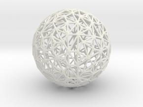 Triangulated Wiresphere in White Natural Versatile Plastic