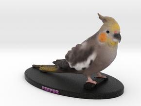 Custom Bird Figurine - Peeper in Full Color Sandstone