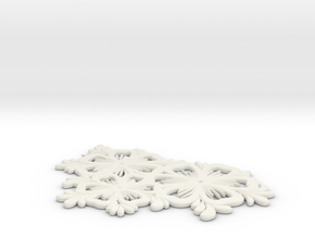Pendant Flower 1 in White Natural Versatile Plastic