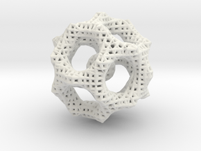 Icosahedron math art in White Natural Versatile Plastic