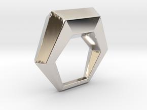 0106 Antisymmetric Torus (p=1; u=6; v=6) 5cm #013 in Rhodium Plated Brass