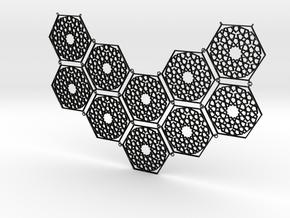 J&M Islamic Inspired Geometric Half Necklace in Matte Black Steel