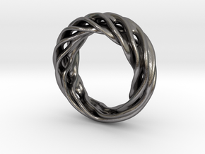 Fluid Wave Ring in Polished Nickel Steel