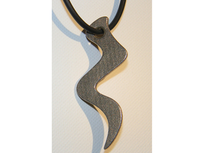 Curved Pendant - Water Element in Polished Bronzed Silver Steel