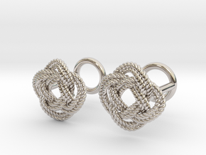 Nautical Turk's Head Knot Cufflinks in Rhodium Plated Brass
