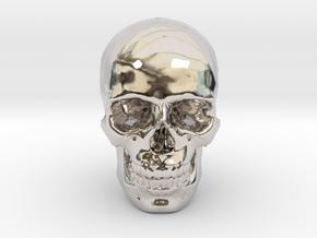25mm 1in Human Skull Crane Schädel че́реп in Rhodium Plated Brass
