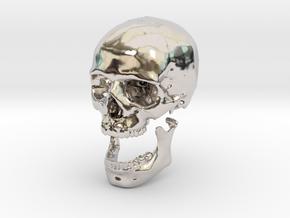 42mm 1.65in Human Skull Crane Schädel че́реп in Rhodium Plated Brass