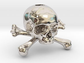 35mm 1.4in Keychain Skull & Bones Bead in Rhodium Plated Brass