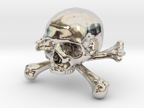 58mm 2.28in Skull & Bones Skull Crane Schädel in Rhodium Plated Brass