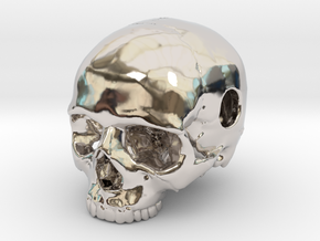 20mm .8in Keychain Bead Human Skull in Rhodium Plated Brass