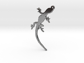 Gecko Crawling Necklace Pendant in Premium Silver