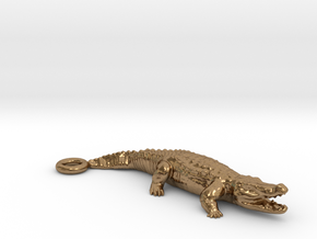 Crocodile Pendant in Natural Brass