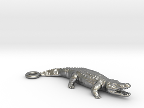 Crocodile Pendant in Natural Silver