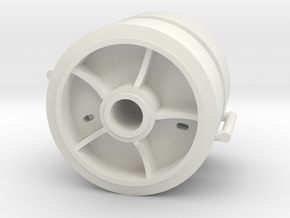 Two 1/16 scale 5 spoke pressed steel wheels in White Natural Versatile Plastic