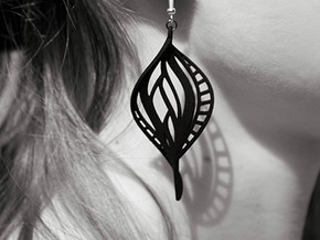 DNA Leaf Spiral Earring (left) in Black Natural Versatile Plastic