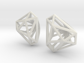 Twisted Triangle Earrings in White Natural Versatile Plastic