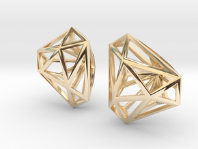 Twisted Triangle Earrings in 14k Gold Plated Brass
